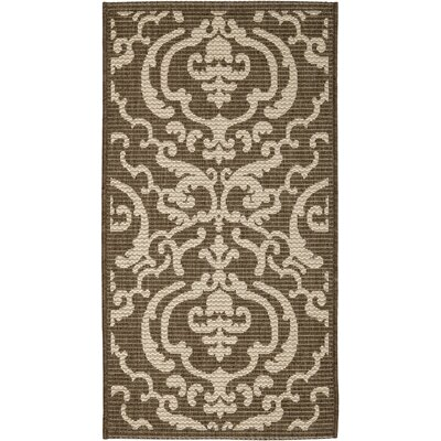 Short Chocolate/Natural Outdoor Rug Rug Size: Rectangle 2 x 37
