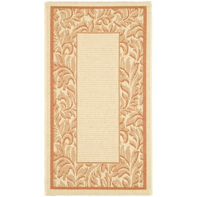 Short Terracotta/Natural Outdoor Rug Rug Size: Rectangle 53 x 77