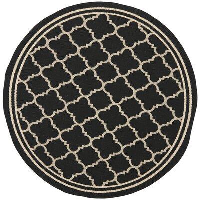 Short Black / Beige Rug Rug Size: Round 53