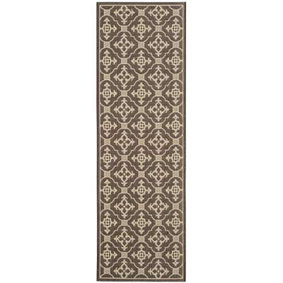 Short Chocolate / Cream Indoor/Outdoor Rug Rug Size: Runner 27 x 82