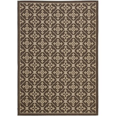 Short Chocolate / Cream Indoor/Outdoor Rug Rug Size: Rectangle 53 x 77