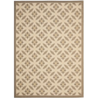 Short Beige / Dark Beige Indoor/Outdoor Pattern Rug Rug Size: Rectangle 4 x 57