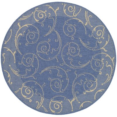 Alberty Blue/Natural Outdoor Area Rug Rug Size: Round 53