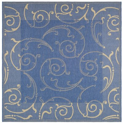 Alberty Blue/Natural Outdoor Area Rug Rug Size: Square 67