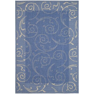Short Blue/Natural Outdoor Area Rug Rug Size: 67 x 96