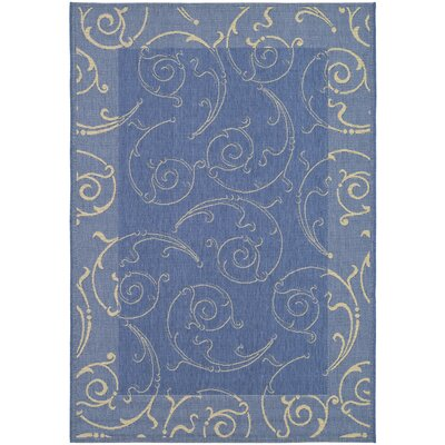 Short Blue/Natural Outdoor Area Rug Rug Size: 53 x 77