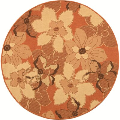 Short Terra Natural / Brown Contemporary Rug Rug Size: Round 6'7