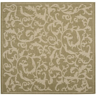 Short Indoor/Outdoor Area Rug in Olive/Natural Rug Size: Square 67