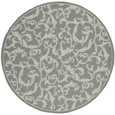Short Anthracite Light Grey Area Rug Rug Size: Round 67