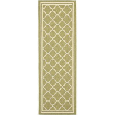 Short Sage Green / Beige Indoor/Outdoor Rug Rug Size: Runner 24 x 911