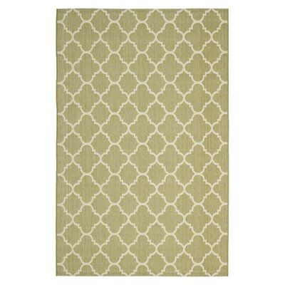 Short Sage Green / Beige Indoor/Outdoor Rug Rug Size: 67 x 96