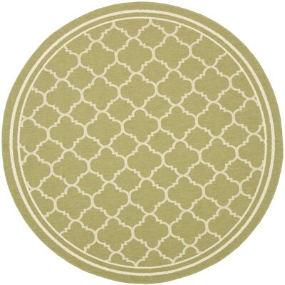 Short Green/Beige Indoor/Outdoor Area Rug Rug Size: Round 4
