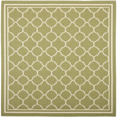 Short Green/Beige Indoor/Outdoor Area Rug Rug Size: Square 67