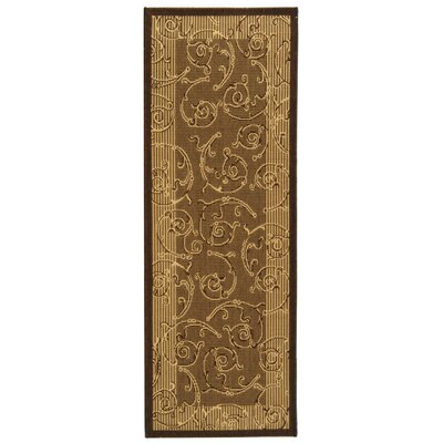 Short Brown & Natural Outdoor Area Rug Rug Size: Runner 24 x 911