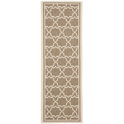 Short Brown / Bone Indoor/Outdoor Rug Rug Size: Runner 24 x 14