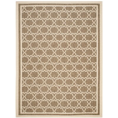 Short Brown / Bone Indoor/Outdoor Rug Rug Size: Rectangle 4 x 57