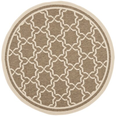 Short Brown / Bone Indoor/Outdoor Rug Rug Size: Round 67