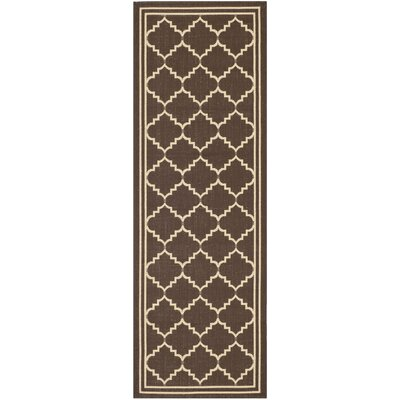 Short Chocolate/Cream Indoor/Outdoor Rug Rug Size: Runner 23 x 10