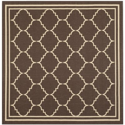 Short Chocolate/Cream Indoor/Outdoor Rug Rug Size: Square 67