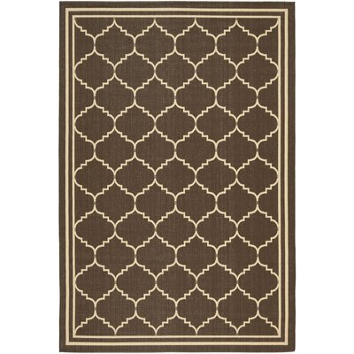 Short Chocolate/Cream Indoor/Outdoor Rug Rug Size: Rectangle 53 x 77