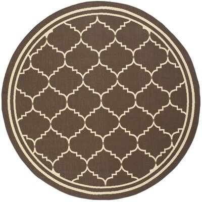 Short Chocolate/Cream Indoor/Outdoor Rug Rug Size: Round 67