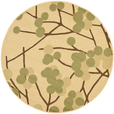 Short Natural Accent Brown / Olive Contemporary Rug Rug Size: Round 67