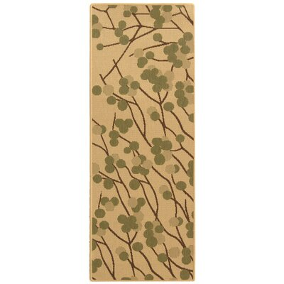 Short Natural Accent Brown / Olive Contemporary Rug Rug Size: Runner 24 x 67