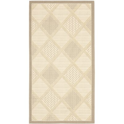 Short Beige/Dark Beige Indoor/Outdoor Rug Rug Size: Rectangle 27 x 5