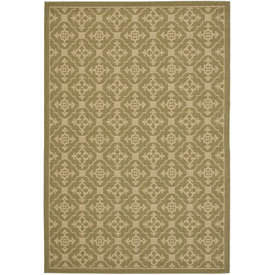 Short Olive / Creme Outdoor Area Rug Rug Size: 53 x 77