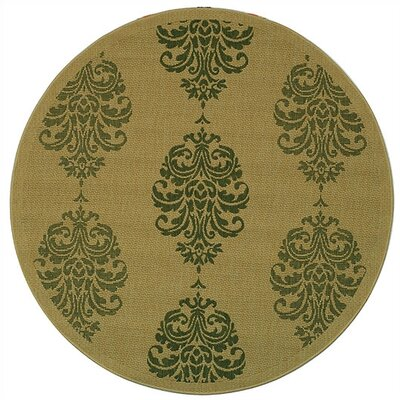 Short Natural / Olive Outdoor Area Rug Rug Size: Round 67