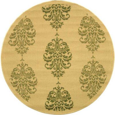 Short Natural / Olive Outdoor Area Rug Rug Size: Round 53