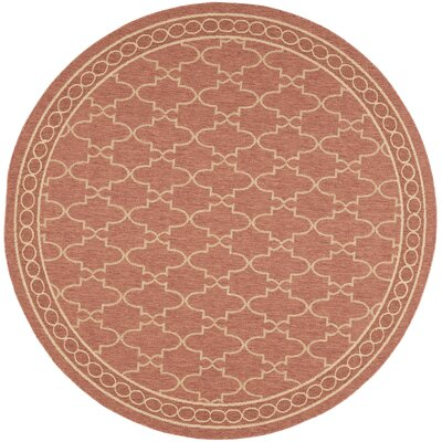 Short Rust / Sand Outdoor Rug Rug Size: Round 67