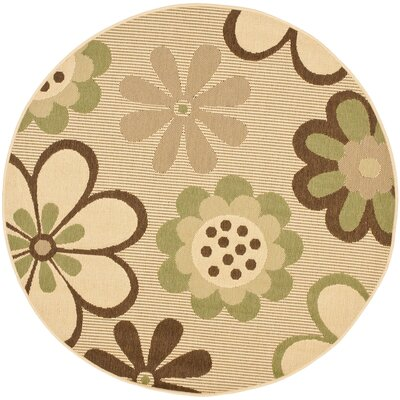 Welby Natural Brown/Olive Outdoor Rug Rug Size: Round 53