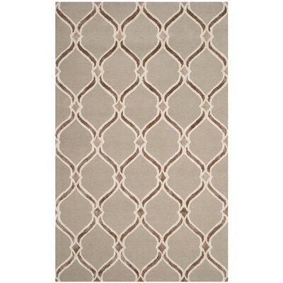 Garrison Hand-Tufted Taupe/Ivory Area Rug Rug Size: 5 x 8