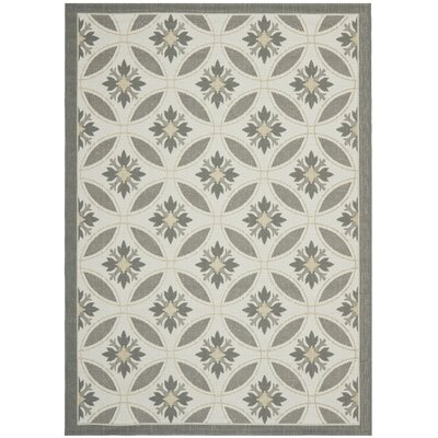 Short Light Grey/Anthracite Indoor/Outdoor Transitional Rug Rug Size: 9 x 12