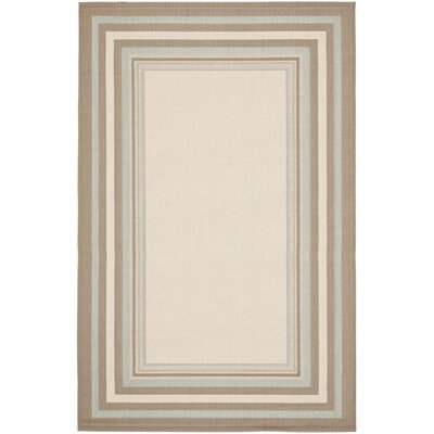 Short Beige / Blue Indoor/Outdoor Rug Rug Size: Rectangle 4 x 57