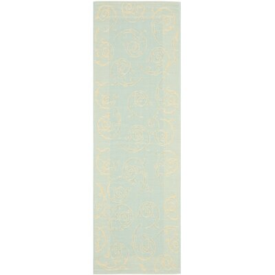 Alberty Aqua / Cream Indoor/Outdoor Rug Rug Size: Runner 2'4