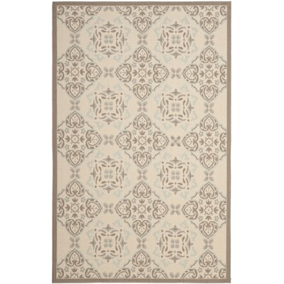 Short Beige/Dark Beige Indoor/Outdoor Synthetic Rug Rug Size: Rectangle 4 x 57