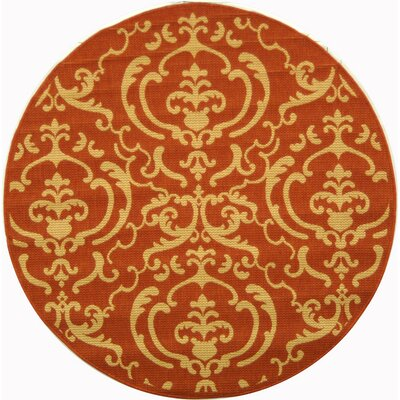 Short Terracotta / Natural Outdoor Rug Rug Size: Round 53