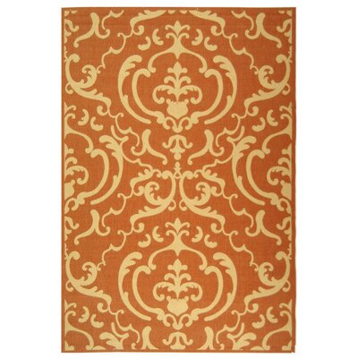 Short Terracotta / Natural Outdoor Rug Rug Size: Rectangle 53 x 77