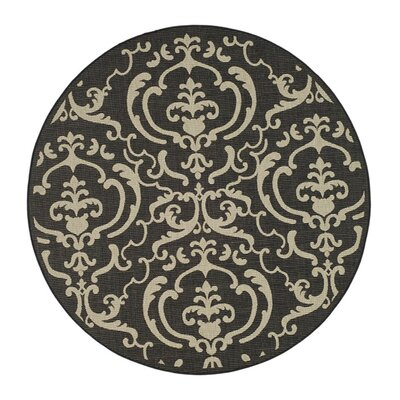 Short Black/Sand Outdoor Rug Rug Size: Round 710