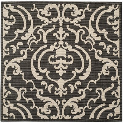 Short Black/Sand Outdoor Rug Rug Size: Square 67