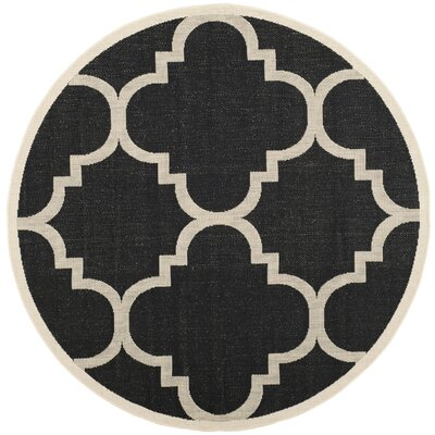 Short Black/Beige Indoor/Outdoor Area Rug Rug Size: Round 710