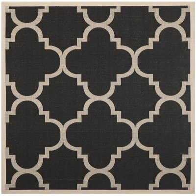 Short Black/Beige Indoor/Outdoor Area Rug Rug Size: Square 67