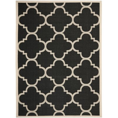 Welby Lattice Black Rug Rug Size: 53 x 77