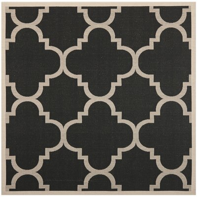 Short Black/Beige Indoor/Outdoor Area Rug Rug Size: Square 53