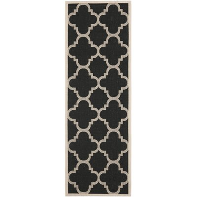 Short Black/Beige Indoor/Outdoor Area Rug Rug Size: Runner 24 x 14