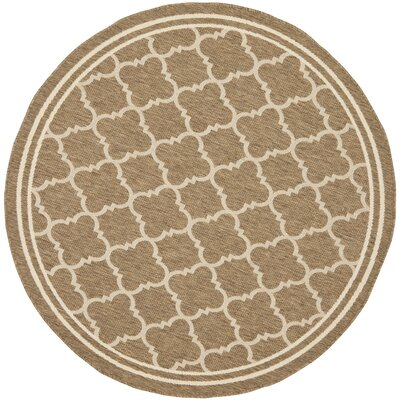 Short Brown/Bone Outdoor Area Rug Rug Size: Round 53