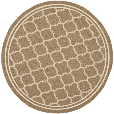 Short Brown/Bone Outdoor Area Rug Rug Size: Round 4