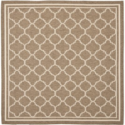 Short Brown/Bone Outdoor Area Rug Rug Size: Square 67